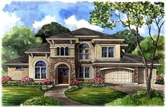 ALMOST PERFECT!    Elevation of Mediterranean   House Plan 61750