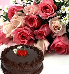12 Pink or Peach Roses with 0.5 Kg Chocolate Cake to India