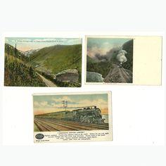 3 Vintage Railroad Train Postcards Postally Unused