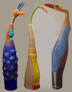 Barbara Kolyniska.  .Ceramic birds . indulgy.com