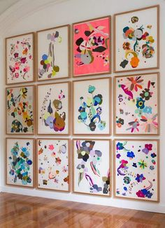 Colourful art by Kirra Jamieson. Reminds me of Japanese floral graphics seen on origami paper etc