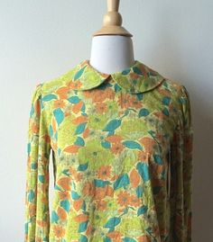 Vintage Green Floral Peter Pan Collar Blouse by Baxtervintage