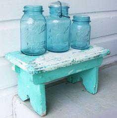 Aqua Blue Mason Jars on Blue Aqua Bench