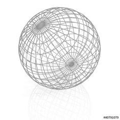 gray lattice sphere on white background