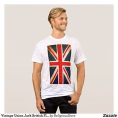 Vintage Union Jack British Flag Men's Canvas Fitted Burnout T-Shirt