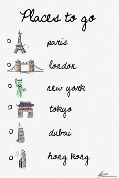 "I have been to NYC and Paris....need to go back! But as far as the other places, it's a start for the ""bucket list."""
