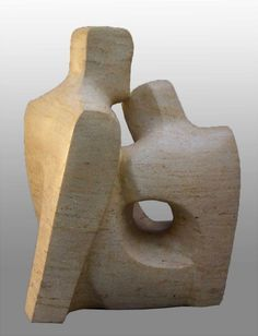 Ancaster stone Parent - Child sculpture by artist John Brown titled: 'Family' - Artwork View 2