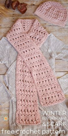 Winter Blush Beanie & Scarf – Easy Free Crochet Pattern Perfect Project for Be. - Crochet - Tutorials Winter Blush Beanie & Scarf – Easy Free Crochet Pattern Perfect Project for Beginner – Stardust Gold Crochet Crochet Scarf Easy, Crochet Simple, Crochet Stitches For Beginners, Beginner Crochet Projects, Crochet Beanie, Crochet Scarves, Crochet Shawl, Crochet Patterns For Scarves, Crochet Clothes