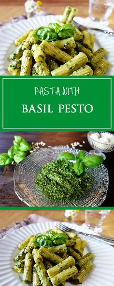 Pasta with basil pesto - a simple & quick recipe for a delicious pesto! Gluten-free, vegetarian & tastes like summer in Italy 🌞❤️   cucina-con-amore.com