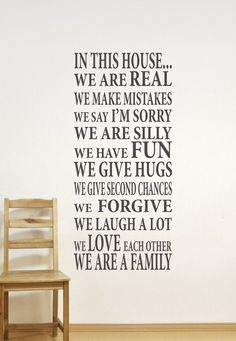 In This House Home Decor Family Wall Decal...We are Family Vinyl Wall Decal - Vinyl Wall Art - Vinyl Lettering. $40.00, via Etsy.