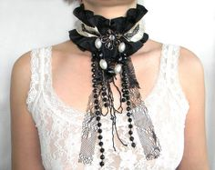 Black and Ivory Textile Choker Ruffled Victorian Gothic Neck Corset Costume Neck Piece with Beads and Lace Applique