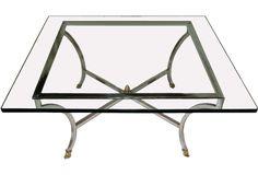 One Kings Lane - Vintage Whites & Metallics - Midcentury Glass Coffee Table