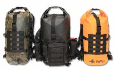 M.O.L.L.E waterproof backpack. Hunting camo, black, orange rescue.