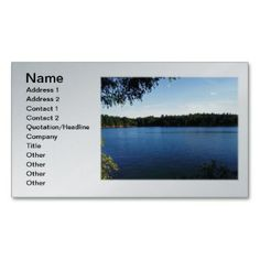 Walden Pond Business Card printed on a silver background and ready to customize.  Many background colors available.