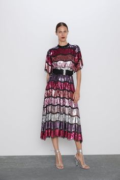 LIMTED EDITION BELTED SEQUIN DRESS - View all-DRESSES-WOMAN | ZARA United States