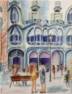 "Saatchi Art Artist Mar Ruiz Bilbao Art; Painting, ""Casa Batlló, Barcelona"" #art"