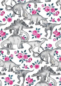 Dinosaurs and Roses – white