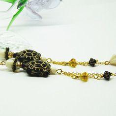 Boucles d'oreilles poétiques tortues, perles de bohême, métal bronze et doré
