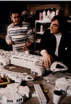 Cyril Forster and Brian Johnson with the Eagle models