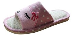 WoDeal Women and Men Novelty Premium Couples Cartoon Character Skidproof Flax Cute Totes Funny House Bedroom Romeo Slippers Payless Size 6 Pink >>> Unbelievable  item right here!