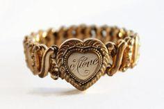 Antique Sweetheart Locket Bracelet by MidwestAtticTreasure on Etsy