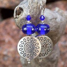 *** Pewter #Spirals, Cobalt #Lampwork Beads and #Swarovski Crystal #Handmade #Earrings by @ShadowDogDesigns #ShadowDogDesigns #Jewelry on #ArtFire - SOLD
