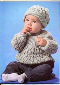Crochê Tricô - Gráficos: Blusa e Touca para Bebê em Tricô