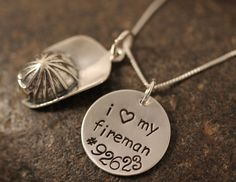 Custom Hand Stamped Sterling Silver Fireman Hat Helmet Necklace for Firefighters Wife, Girlfriend, Etc. I love my fireman. $46.00, via Etsy.