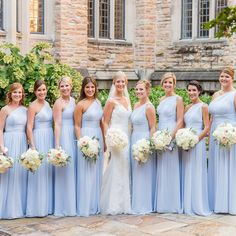 Have you had the pleasure of receiving the bride's invitation? Then you only need one thing: the perfect blue bridesmaid dress! Now we want to show you a series of the most beautiful blue bridesmaid dresses. Inexpensive Wedding Dresses, Affordable Bridesmaid Dresses, Wedding Bridesmaid Dresses, Bridesmade Hair, One Shoulder Bridesmaid Dresses, Periwinkle Bridesmaid Dresses, Periwinkle Wedding, Light Blue Bridesmaids, Baby Blue Weddings