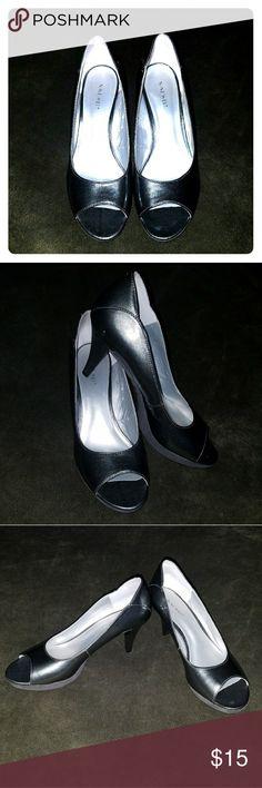 Nine West Metalic Charcoal Peep Toe Heels sz 9 1/2 EUC. Nine West. 9 1/2 women's. 2 1/2 inch heel. Peep toe. Metalic.  Thanks for looking!!!  peace love and happiness   - Seaglassygal Nine West Shoes Heels