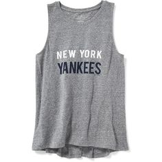 Old Navy Womens Relaxed Fit MLB Team Tank (485 DOP) ❤ liked on Polyvore featuring tops, shirts, blusas, sleeveless shirts, old navy tank tops, relax shirt, round top and sleeveless tops