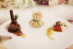 Custom catering from Culinary Art Catering at the Nuvo Room served on a painter's palette. Photo by Feather & Twine Photography. #wedding #catering #food