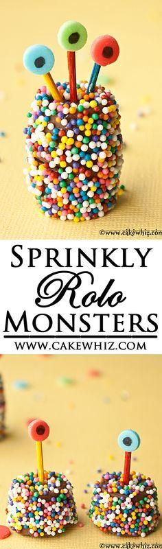 These cute and sprinkly ROLO CHOCOLATE MONSTERS are a perfect treat. It's an easy edible craft to do with kids, using basic store-bought supplies!