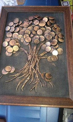 """Explore our internet site for additional relevant information on """"metal tree art diy"""". It is actually an outstanding location to get more information. Metal Tree Wall Art, Metal Art, Coin Crafts, Glue Art, Coin Art, Art Diy, Money Trees, Button Art, Pebble Art"""