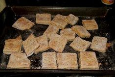 Hard tack recipe. 3cups flour, 1cup water, 3tsp. salt. Roll…