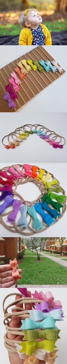 RAINBOW Mini Bow set of 12 baby nylon headbands in Pastel Colors