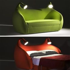 It's like an alien couch/bed... and it has built in lamps for reading late at night. I think i might be in love.