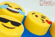 Round chocolate cakes covered in adorable fondant emoji faces for my Emoji Cakes. #Baking #Cake #Dessert