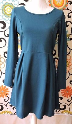 Love Notes Women Teal Long Sleeve Dress Size L #LoveNotes