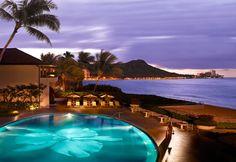 Pool at dusk, Halekulani Hotel, Waikiki, Oahu (Courtesy Halekulani Hotel)