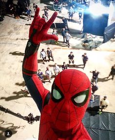 Tom Holland as Spider-Man selfie on set!