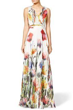 Multicolor Flowers Print Floor Length Cotton Blend Maxi Dress