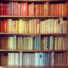 Rainbow colored bookshelf, inspiredbythisblog