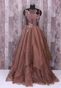 Tissue silk embroidered gown Indian Wedding Gowns, Indian Gowns Dresses, Gown Party Wear, Party Gowns, Indian Designer Outfits, Designer Gowns, Latest Gown Design, Indowestern Gowns, Full Gown