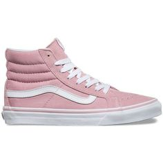 Vans SK8-Hi Slim ($65) ❤ liked on Polyvore featuring shoes, sneakers, pink, lace up shoes, high top shoes, high top trainers, lacing sneakers and vans trainers