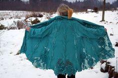Верхняя одежда ручной работы. Ярмарка Мастеров - ручная работа. Купить Бирюзовое пальто. Handmade. Тёмно-бирюзовый, ирландское вязание