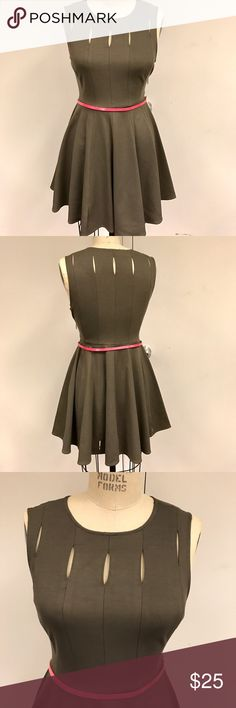 Brown fit and flare dress Like new condition.  Only worn once.  Brown fit and flare dress in thick stretchy material.    Dress has multiple keyhole cutout on front and back.  Zipper on left side.  Pair with a belt like I did in the pic.  Can wear to work with a blazer or cardigan.  65% rayon 30% cotton 5% spandex.  Belt not included. Bar III Dresses Midi