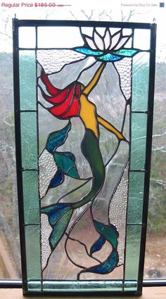 Mermaid Stained Glass Panel