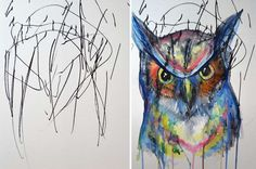 Artists Turns Her 2-Year Old's Doodles into Brilliant Watercolor Paintings