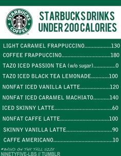 We love low calorie coffee drinks ♥ maybe after lent when i can finally have coffee again  lol